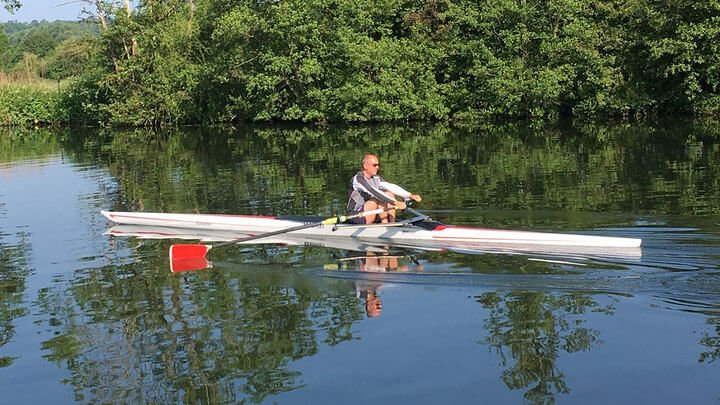 John Newell practicing his sculling skills.