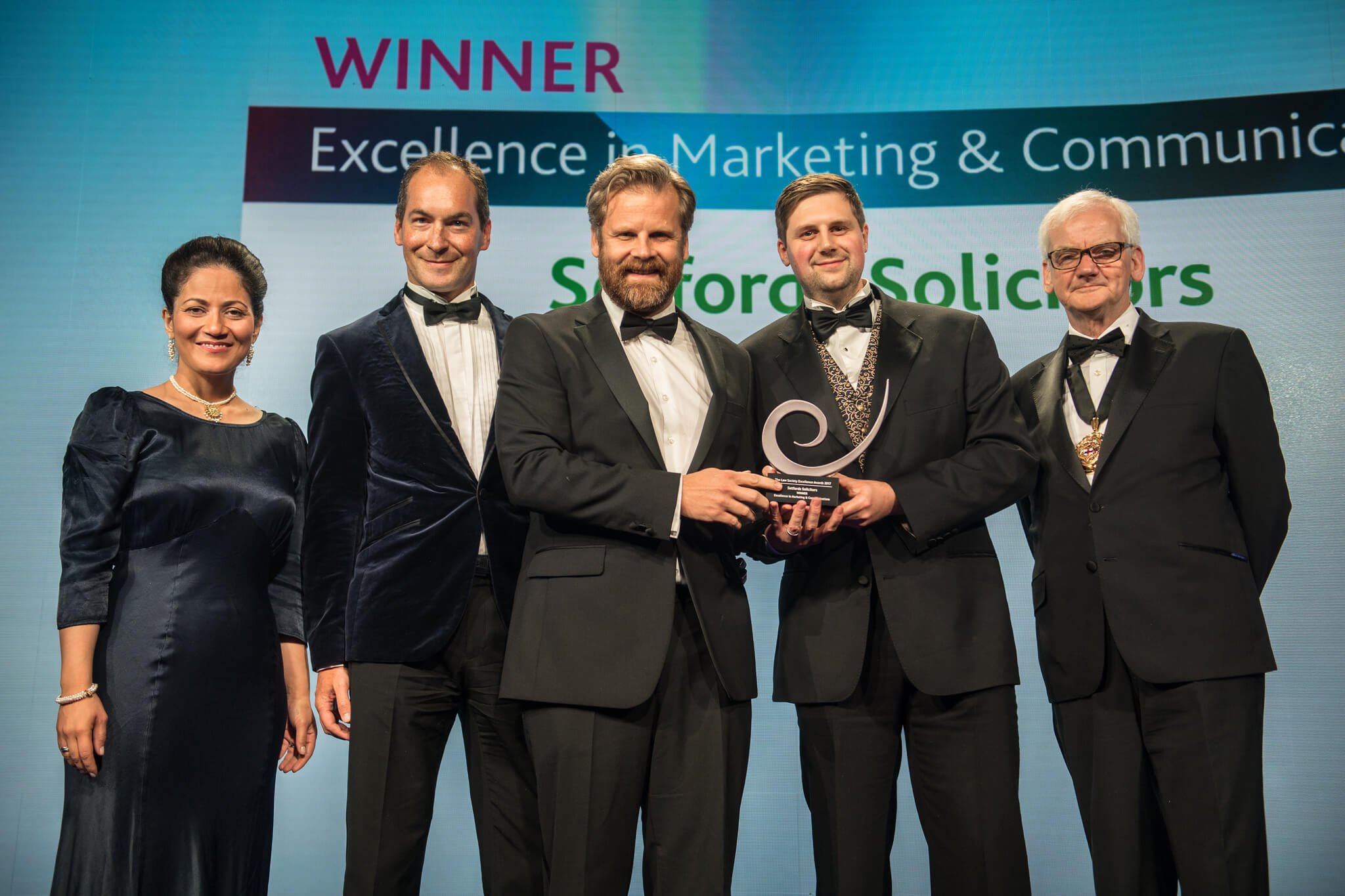 The BBCs Mishal Husain presented the award to the Setfords team, David Rogers, Managing Director, Keir MacKenzie, Head of PR  Communications and Kieran Smith, Head of Digital Marketing alongside Joe Egan, President of the Law Society